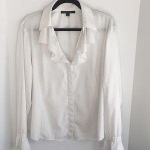 Lafayette 148 New York White Ruffled Shirt 14